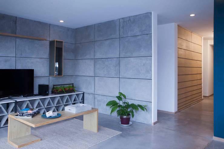 Departamento contemporáneo en Bosques de las Lomas: Salas de estilo  por Taller David Dana Arquitectura