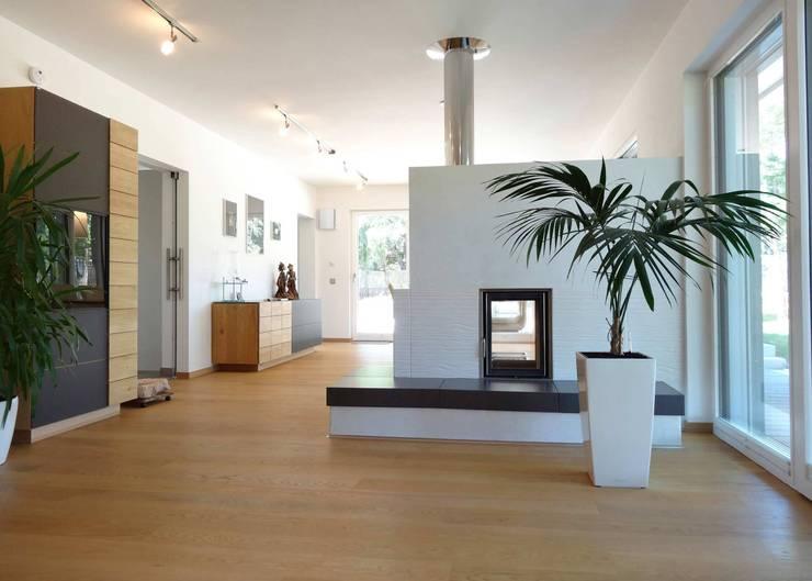 la casa como espacio vital: Salones de estilo  de hollegha arquitectos