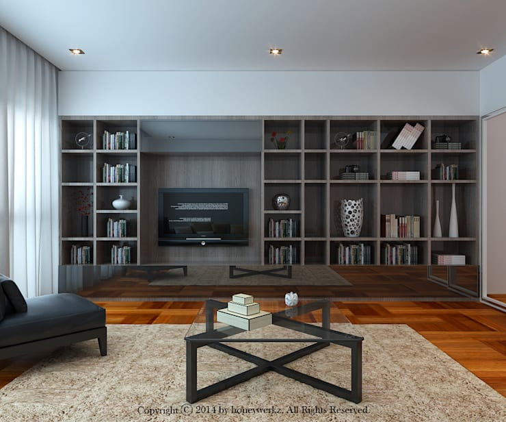 Semi-Detached House at Redang Villa, Malaysia:  Living room by Honeywerkz