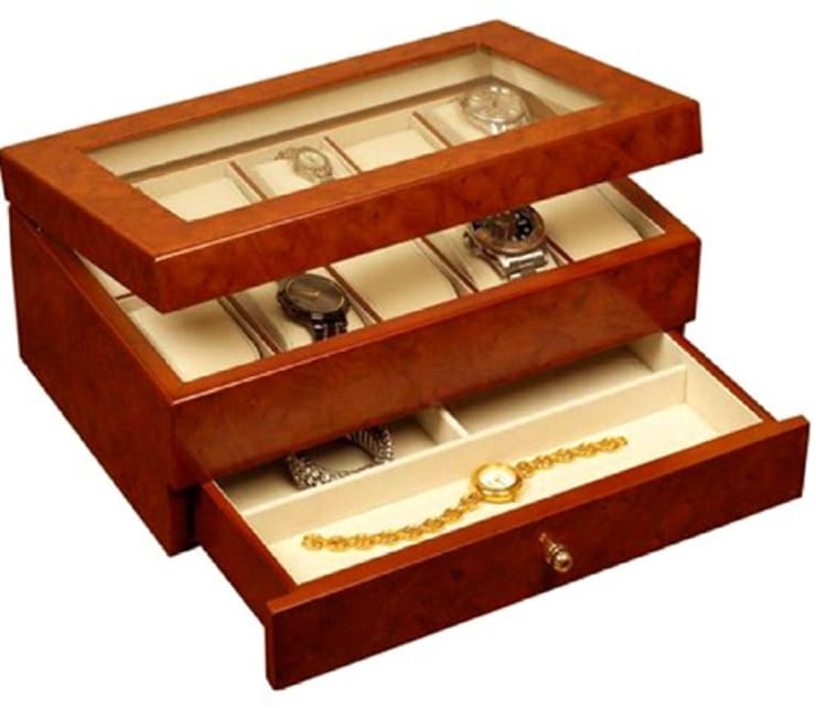 MEN' S WATCH STORAGE BOX:  Household by Wooden Gift Company