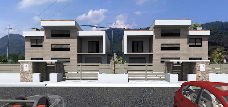 MODERN VILLA in Coccaglio – BS (Italy):  in stile  di ANDREA PONTOGLIO ARCHITECT,