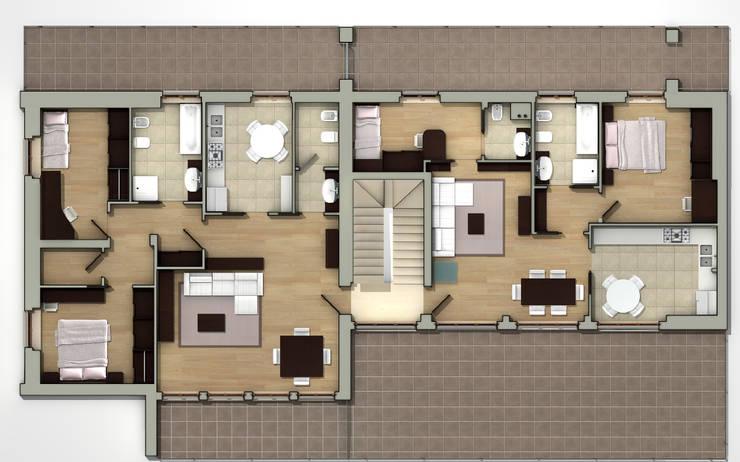 Planta Piso 1: Casas de estilo  de CADOT