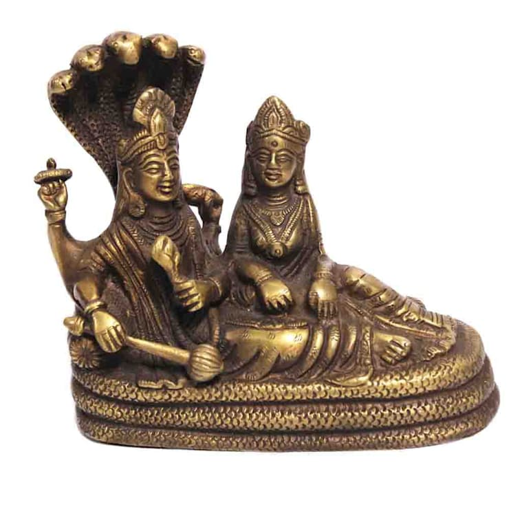 Lord Laxmi Narain Brass Statue /Natural Finish /Religious Sculptures/ Hindu Trinity Preserver God/ Collectible/ Indian Hindu God Idol Gifts:  Artwork by M4design