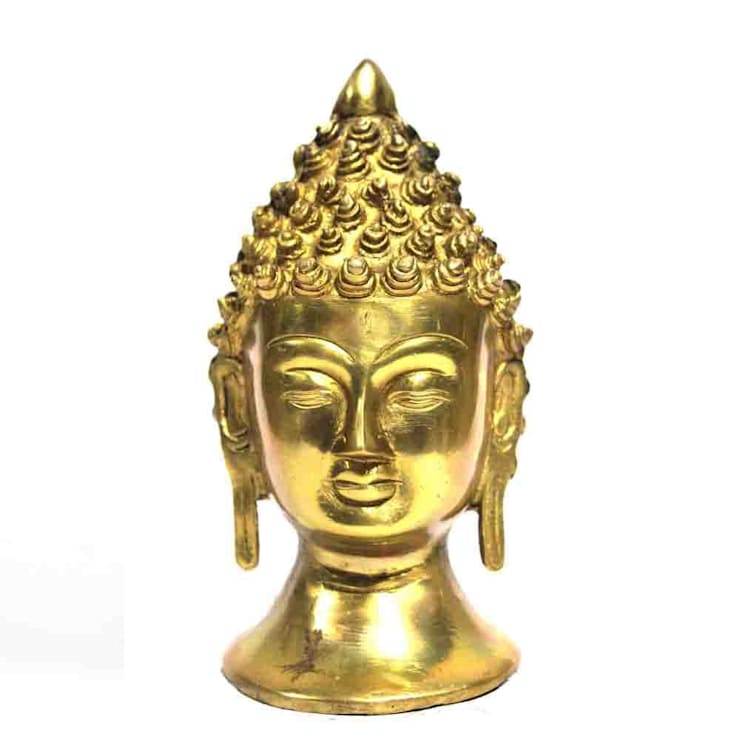 Gold Finish Brass Buddha Head Statue/ Home Decor Sculpture/ Religious Figure/ Table Top/ Online Shakyamuni Statue:  Artwork by M4design