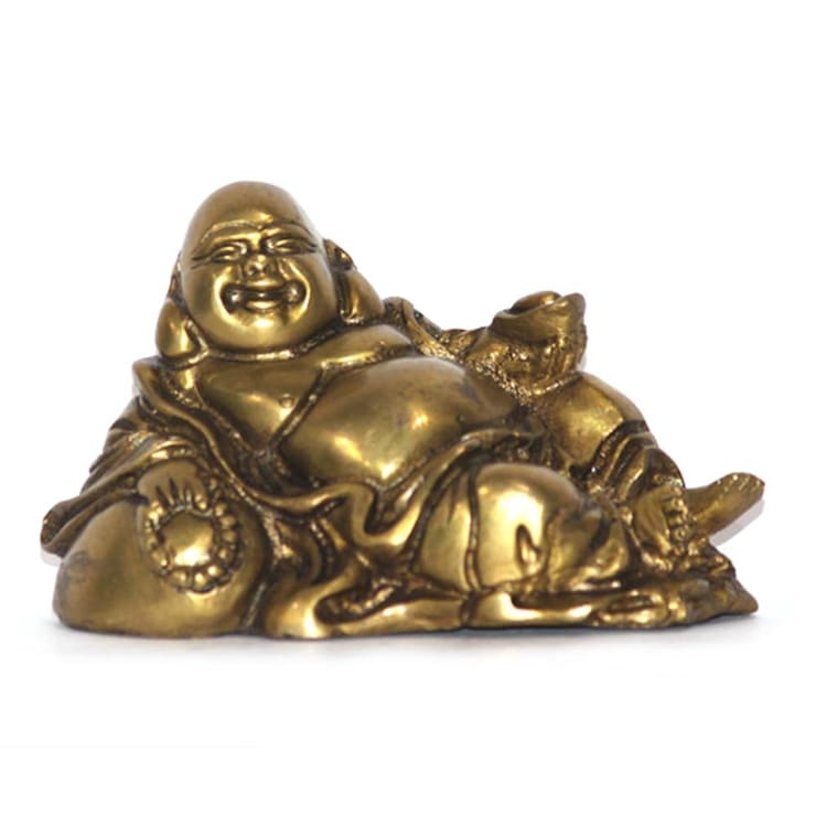 Antique Finish Laughing Buddha Statue / Feng Shui Gift / Brass Metal Sculpture/ Good Luck Charm / God Of Money/ Chinese Folkloric Deity:  Artwork by M4design