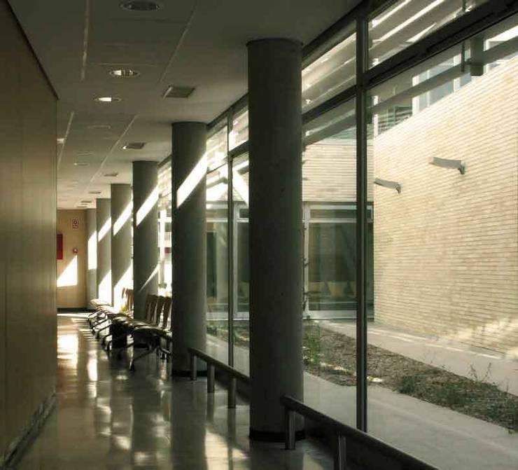Iluminación natural de espacios internos de circulación: Vestíbulos, pasillos y escaleras de estilo  de Argola Arquitectos