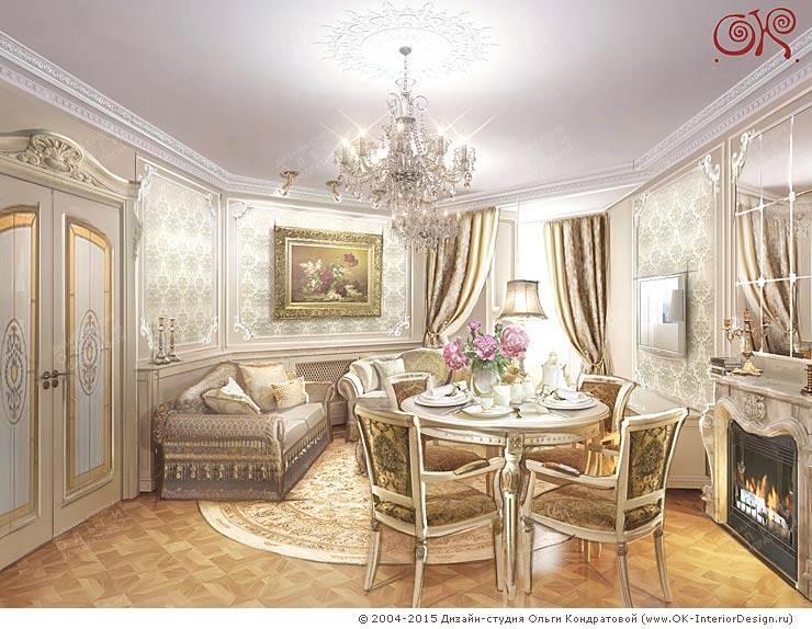 Изящная классика в интерьере 4-комнатных апартаментов: Гостиная в . Автор – Дизайн студия Ольги Кондратовой