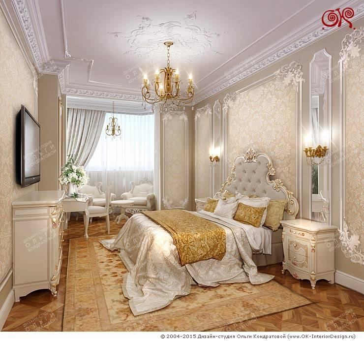 Изящная классика в интерьере 4-комнатных апартаментов: Спальни в . Автор – Дизайн студия Ольги Кондратовой