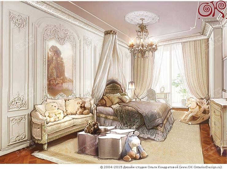 Изящная классика в интерьере 4-комнатных апартаментов: Детские комнаты в . Автор – Дизайн студия Ольги Кондратовой