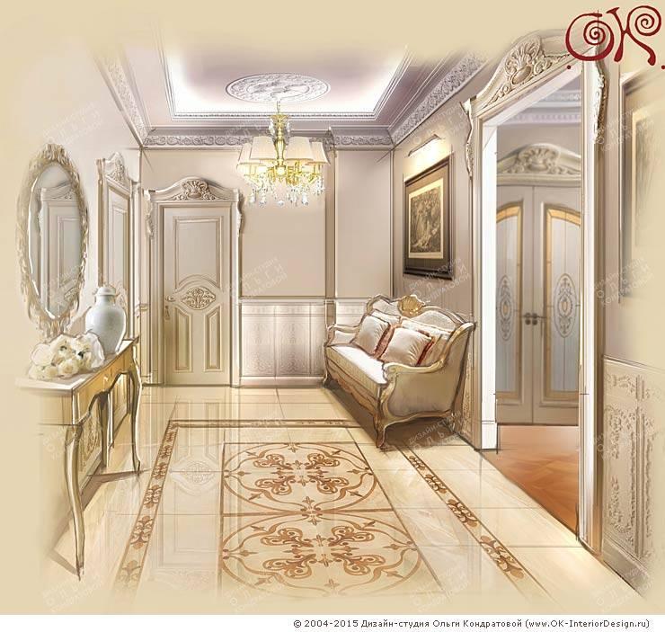 Изящная классика в интерьере 4-комнатных апартаментов: Коридор и прихожая в . Автор – Дизайн студия Ольги Кондратовой