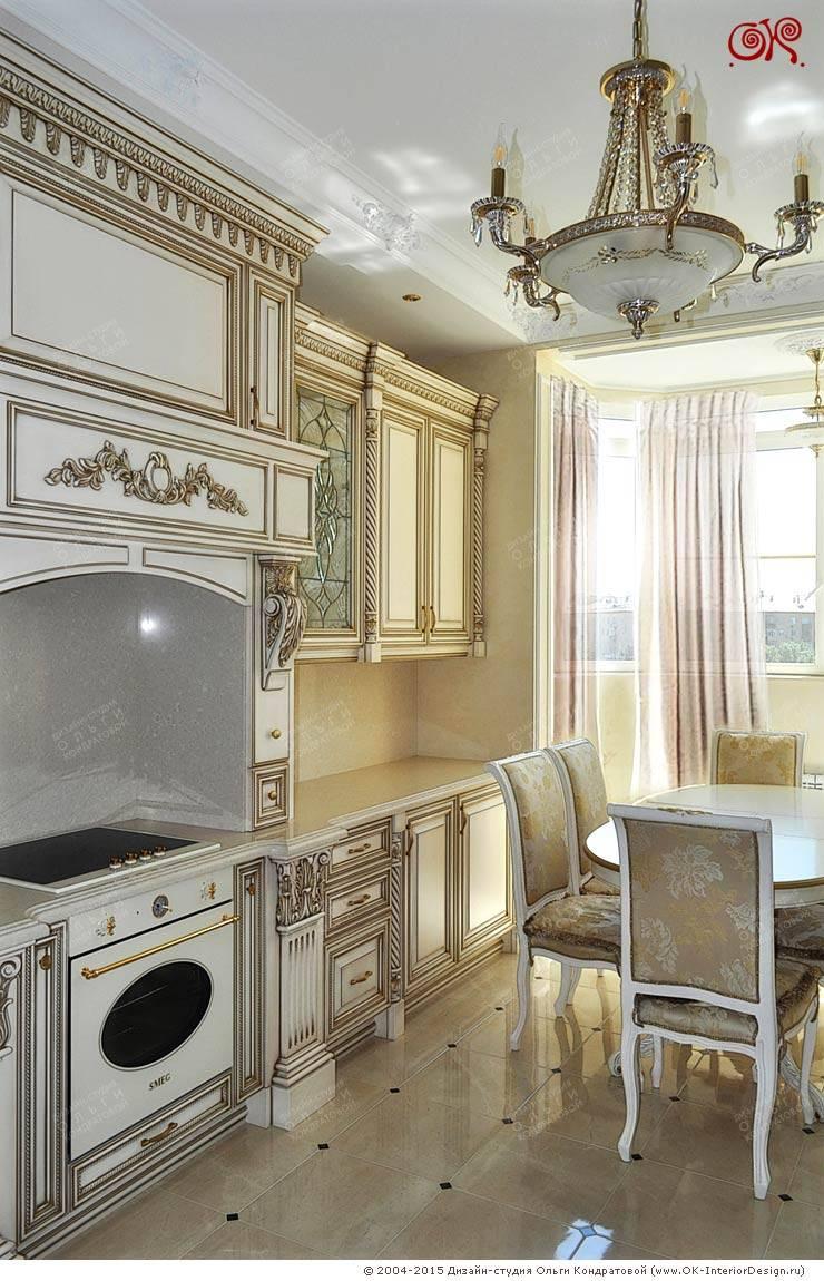 Изящная классика в интерьере 4-комнатных апартаментов: Кухни в . Автор – Дизайн студия Ольги Кондратовой