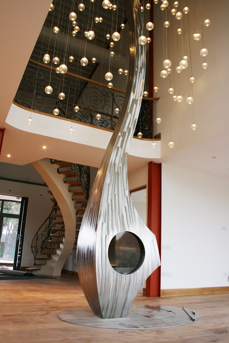 Bespoke sculptural fire:  Living room by Firemaker