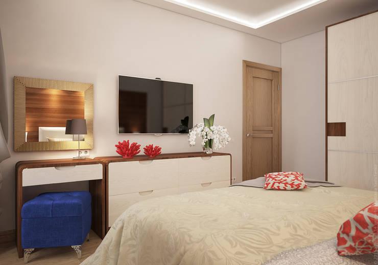 Спальня в двухкомнатной квартире на Бескудниковском бульваре: Спальни в . Автор – «Студия 3.14»