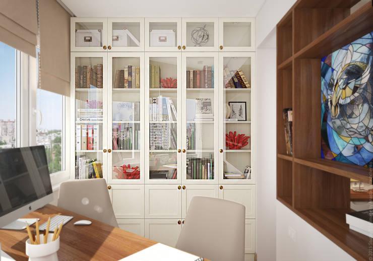 Кабинет в двухкомнатной квартире на Бескудниковском бульваре: Рабочие кабинеты в . Автор – «Студия 3.14»