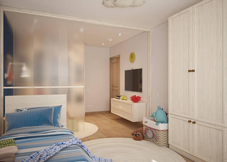 Гостиная и детская в двухкомнатной квартире на Бескудниковском бульваре: Детские комнаты в . Автор – «Студия 3.14»