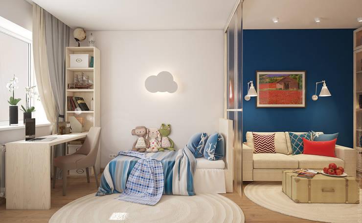 Гостиная и детская в двухкомнатной квартире на Бескудниковском бульваре: Гостиная в . Автор – «Студия 3.14»