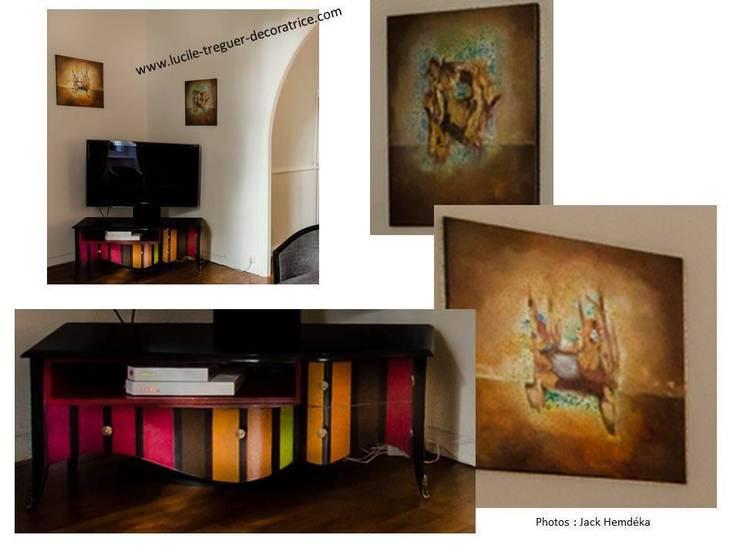 Décoration d'un séjour/salon.  Style classique revisité.:  de style  par  Lucile Tréguer, décoratrice d'intérieur