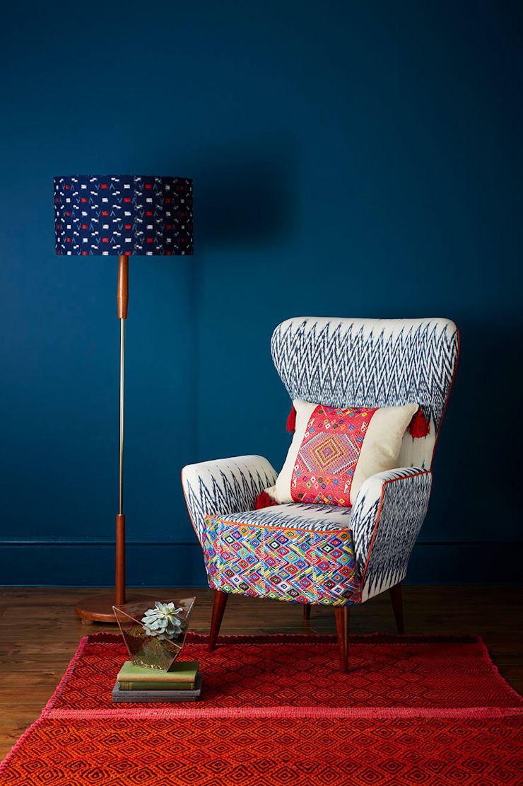 Caterina Ikat Wing Chair:  Living room by A Rum Fellow