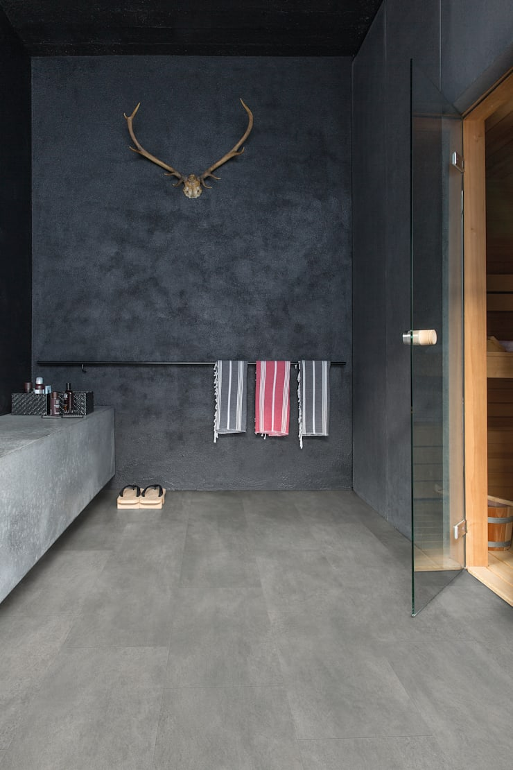 Grey Travertine:  Walls & flooring by Quick-Step