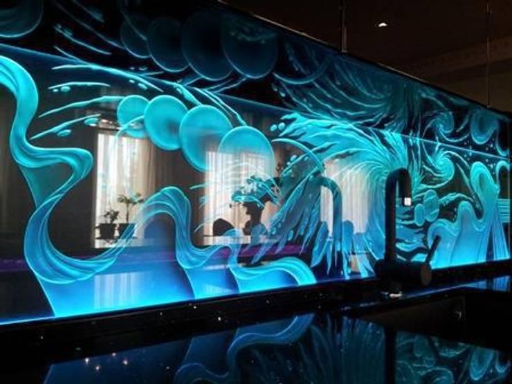 illuminated splashback:   by Interior project installations ltd