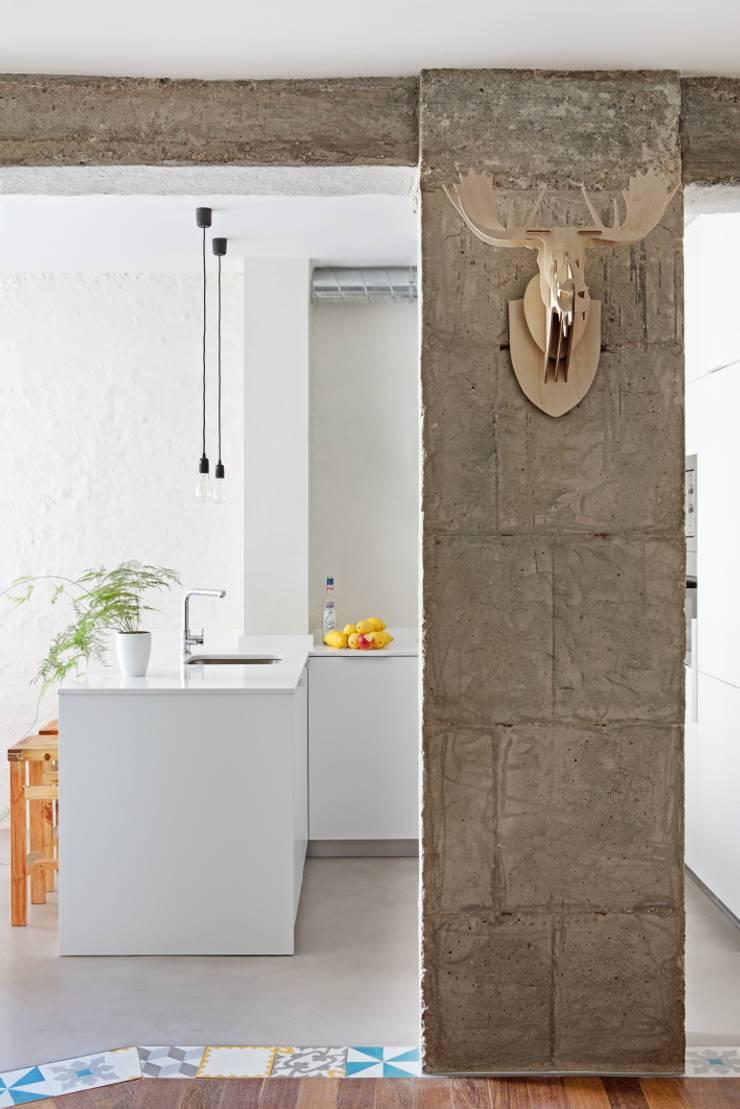 Transición entre cocina y salón: Cocinas de estilo  de Sucursal urbana universo Sostenible