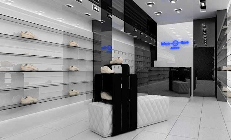 Concepto para zapatería casual: Espacios comerciales de estilo  de AG INTERIORISMO