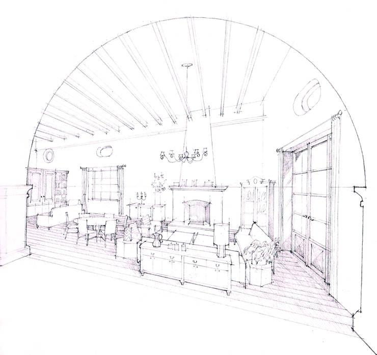 Perspectiva Sala:  de estilo  por ArquitectosERRE