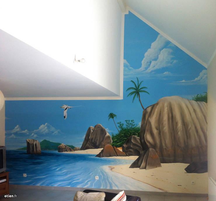 Fresque Seychelles: Art de style  par Étien'