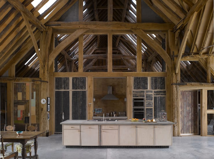 Feering Bury Farm Barn :  Kitchen by Hudson Architects