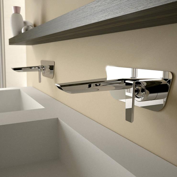 Batteria lavabo parete _ serie Code: Casa in stile  di Teorema Rubinetterie,