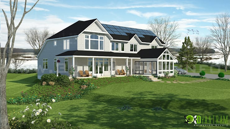 Exterior Design Rendering For River Side Residential:  Artwork by Yantram Architectural Design Studio