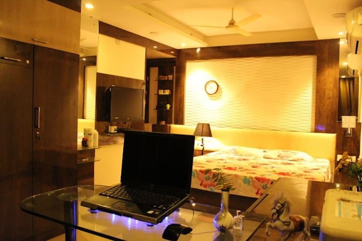 View of the Bedroom:  Living room by Architecture Interior Co. Pvt. Ltd