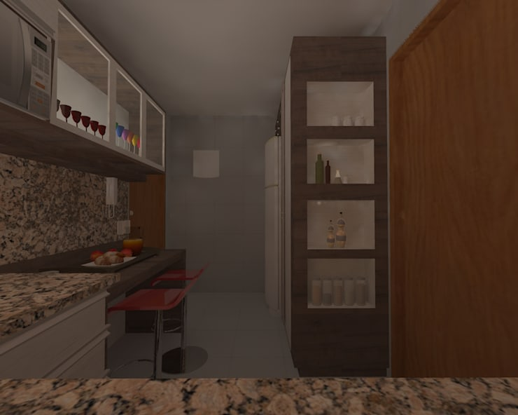 Cozinha Compacta: Cozinhas  por Elaine Medeiros Borges design de interiores