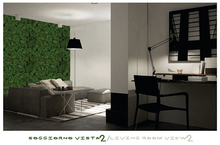 living room, view study area: Studio in stile in stile Minimalista di ZENZEROdesign