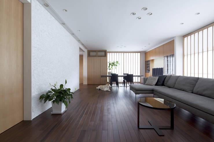 広いリビング・ダイニングの家: 岸建築設計室が手掛けた現代のです。,モダン