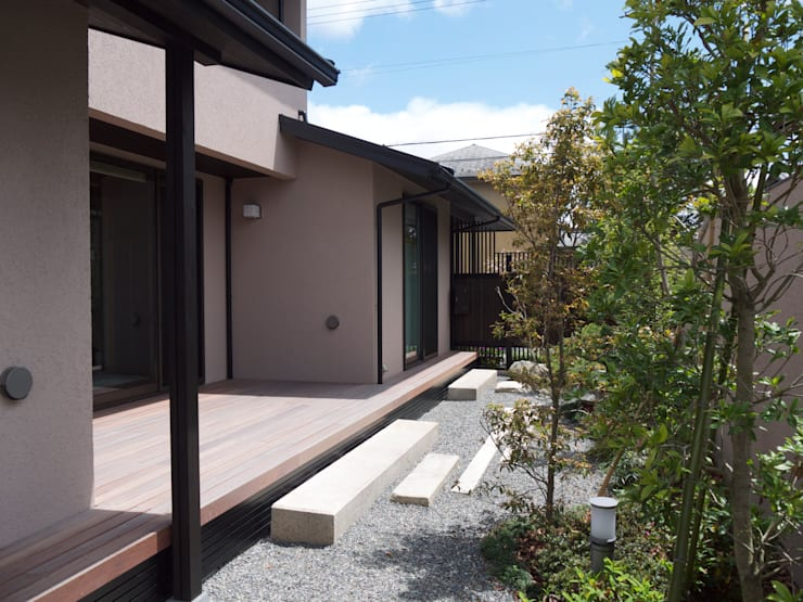 ウッドデッキと庭:       古津真一 翔設計工房一級建築士事務所が手掛けた庭です。,モダン