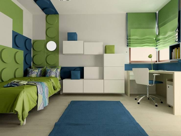 Klocki z Dots w pokoju dziecięcym projektu Izy Szewc z Fabryki Nastroj: styl , w kategorii Pokój dziecięcy zaprojektowany przez FLUFFO fabryka miękkich ścian