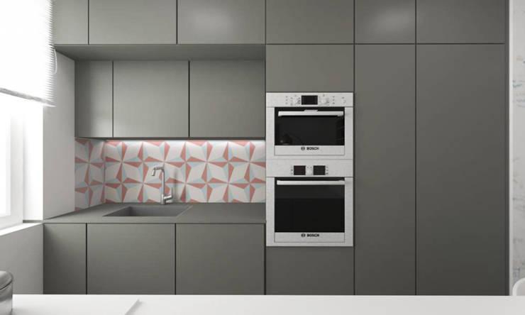 Mieszkanie 2+2, 68m2: styl , w kategorii Kuchnia zaprojektowany przez A+A