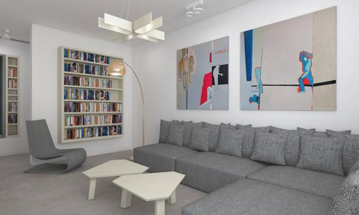 Mieszkanie 2+2, 68m2: styl , w kategorii Salon zaprojektowany przez A+A