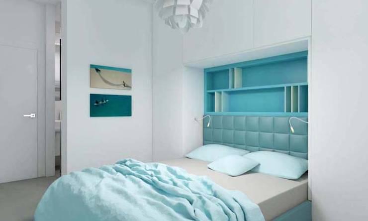 Mieszkanie 2+2, 68m2: styl , w kategorii Sypialnia zaprojektowany przez A+A