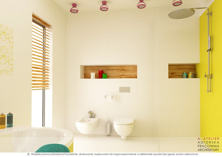 Łazienka dziecięca: styl , w kategorii Łazienka zaprojektowany przez A  ATELIER, Autorska Pracownia Architektury Artur Turant
