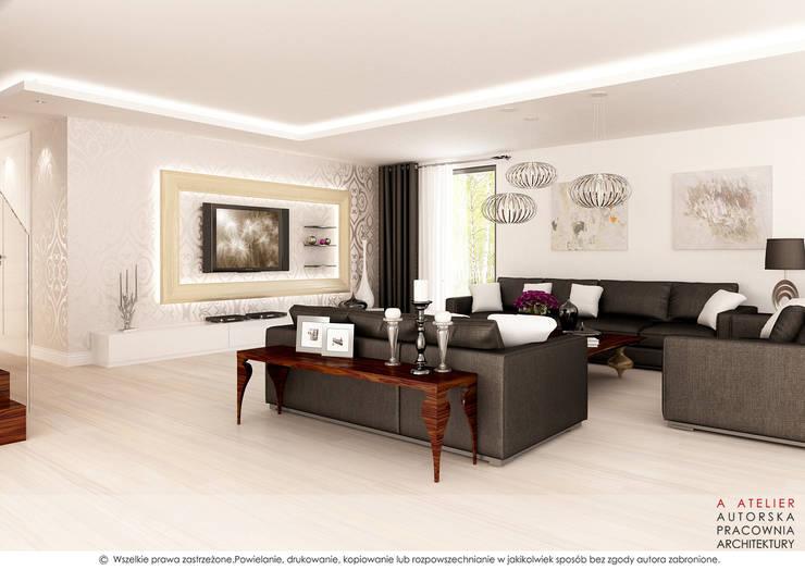 Salon: styl , w kategorii Salon zaprojektowany przez A  ATELIER, Autorska Pracownia Architektury Artur Turant
