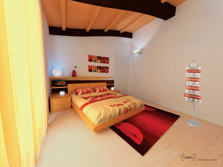 Habitaciones de estilo  por TEXAL di Bernecoli Matteo
