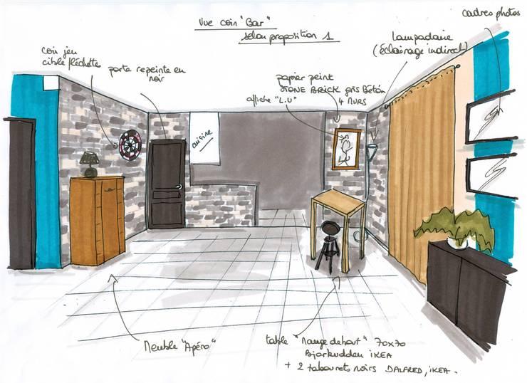 projet espace bar: Salon de style  par Atelier Inside