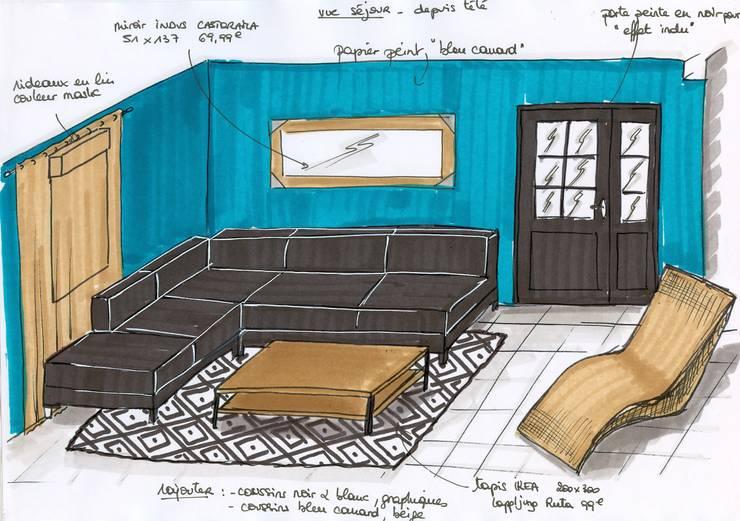 projet séjour: Salon de style  par Atelier Inside