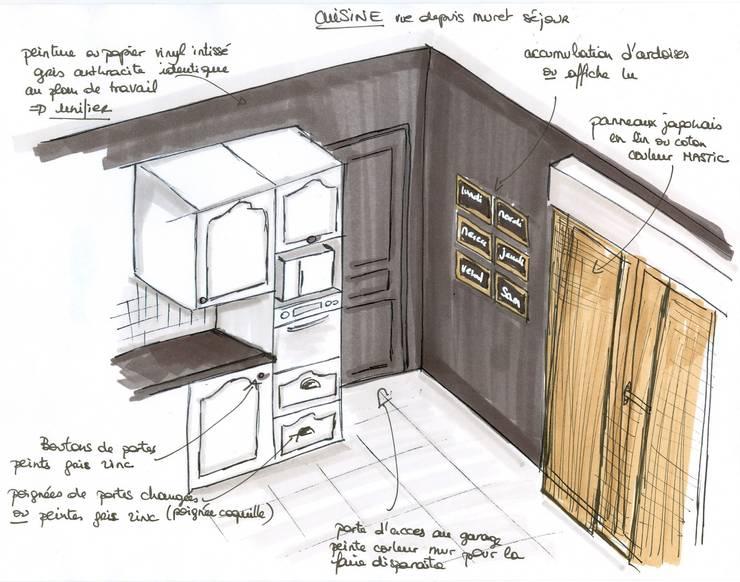 projet cuisine: Salon de style  par Atelier Inside