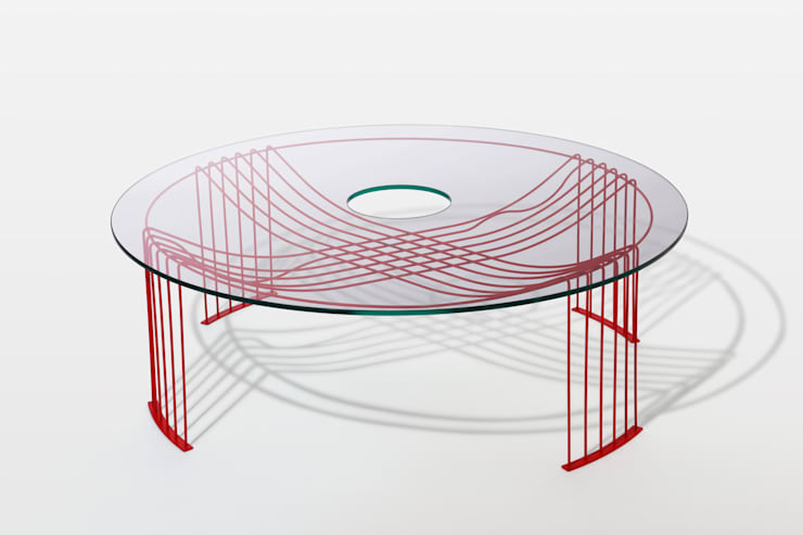 amihajime table: Shinn Asano Design Co. ltd.が手掛けたリビングルームです。,