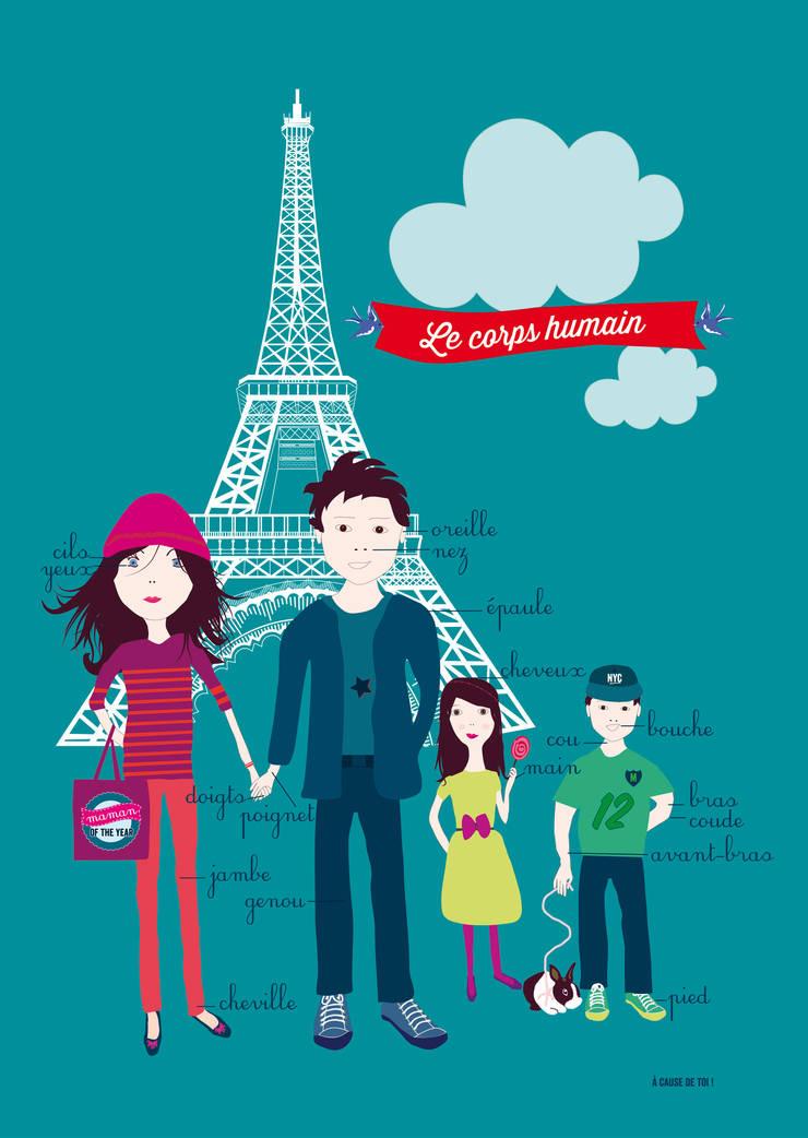 AFFICHE LE CORPS HUMAIN: Chambre d'enfants de style  par A CAUSE DE TOI !