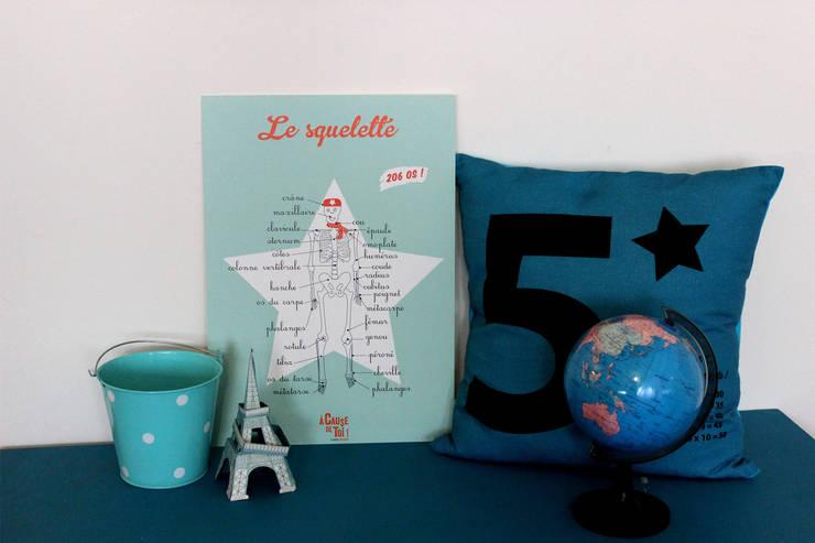 AFFICHE LE SQUELETTE: Chambre d'enfants de style  par A CAUSE DE TOI !