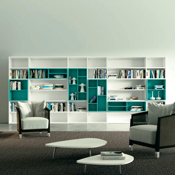 'White' Contemporary free standing bookcase by Morassutti: modern Living room by My Italian Living